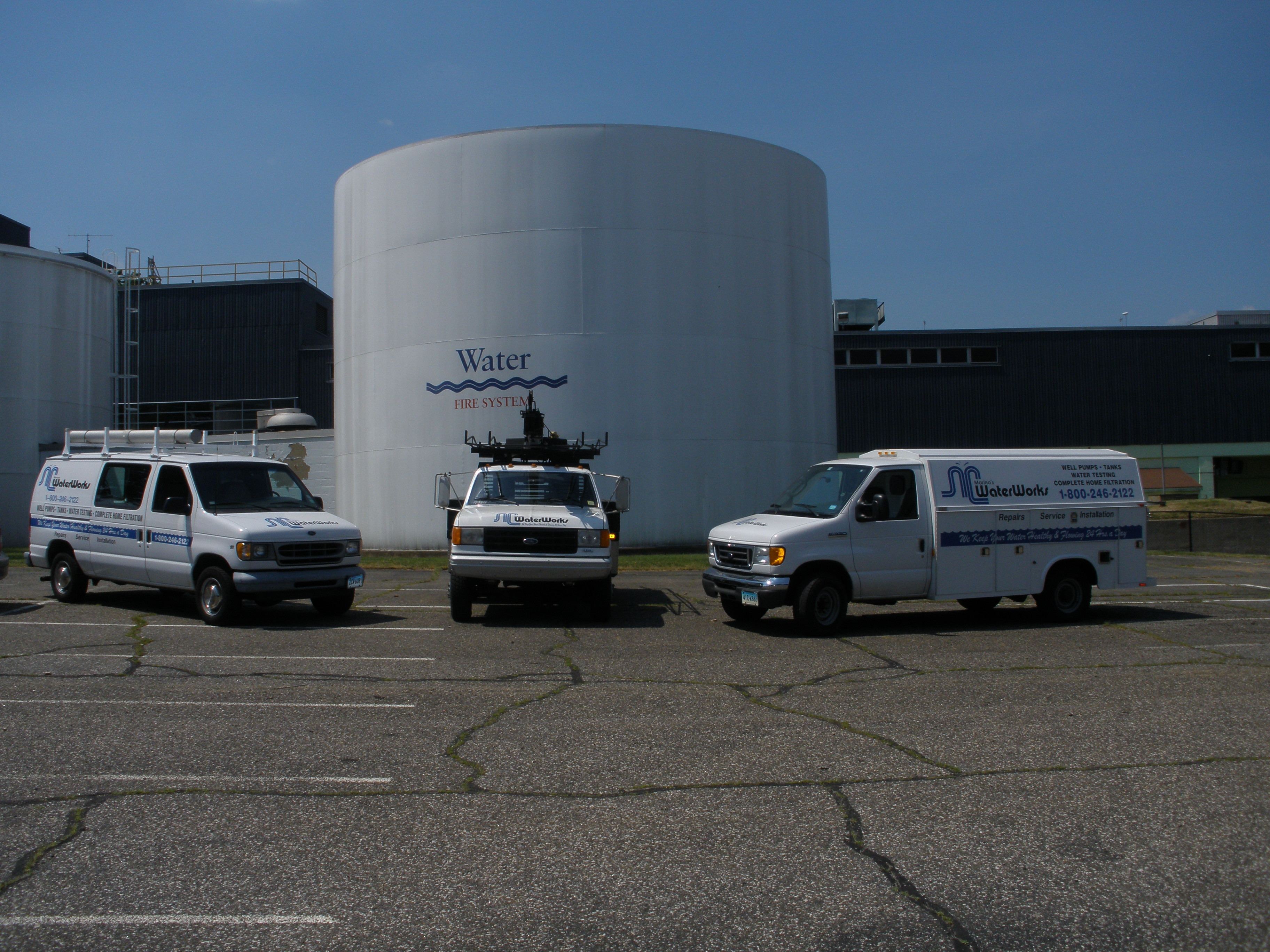 Marino's Waterworks water treatment center with trucks in Norwalk